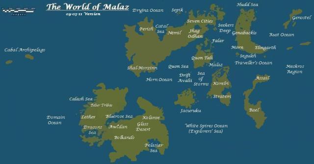 Mundo de Malazan ou Malaz Fonte: The Wertzone