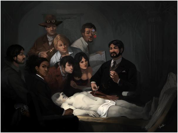 A Lição de Anatomia do Dr. Louison.  Arte de Diego Cunha