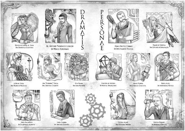 O Variado Elenco de Personagens de Brasiliana Steampunk Arte de Jéssica Lang
